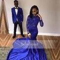 Opacidad royal blue prom vestidos backless del satén del estiramiento de manga larga de encaje sin espalda cuello barco sirena largo prom dress africano