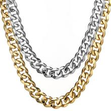 Granny Chic Mens Necklace Curb Cuban Chain Stainless Steel Gold Silver Wholesale 2019 for Men Jewelry Gift 15mm