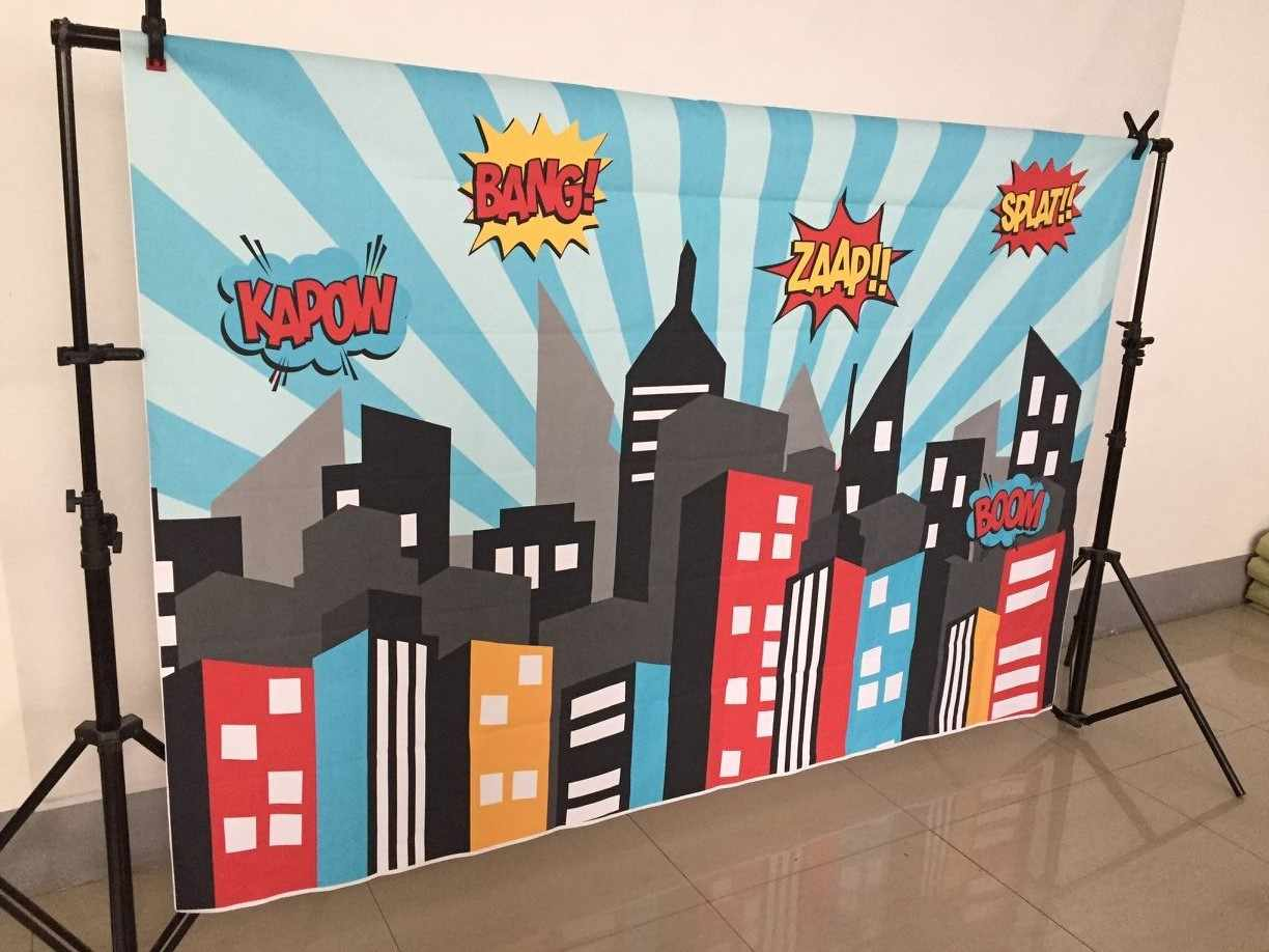 Art Fabric Photography Backdrops Superhero Birthday Party Supergirl City Sky Building Night Baby Shower Photobooth Photocall