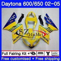 Body For Triumph Daytona 650 600 02 03 04 05 Daytona600 86NO.1 Daytona650 Daytona 600 2002 2003 2004 2005 Fairings Blue yellow