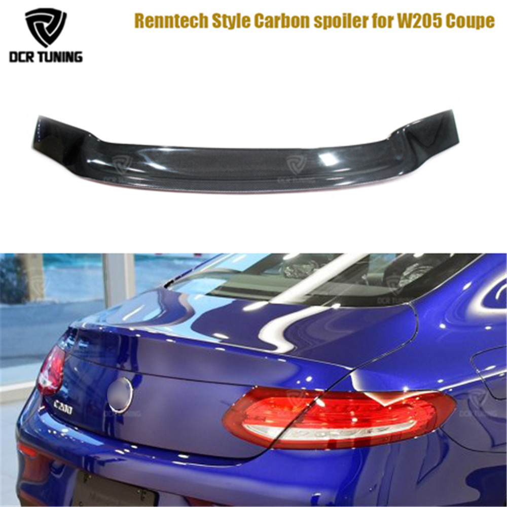Renntech Style For Mercedes C Class W205 Spoiler Carbon Fiber Rear Trunk Spoiler C200 C250 C300 C180 C350 Coupe 2 Door Car 2014+ carbon fiber emblem car stickers b column door bumper sticker for mercedes benz c class w205 c180 c200 c300 glc car styling