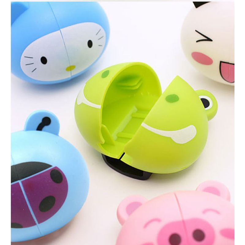 Kids Cute Cartoon Animal Head Shaped Toothbrush Holder Cover Two Suction Cup Colored Wall Mounted Bathroom Accessories Random St image