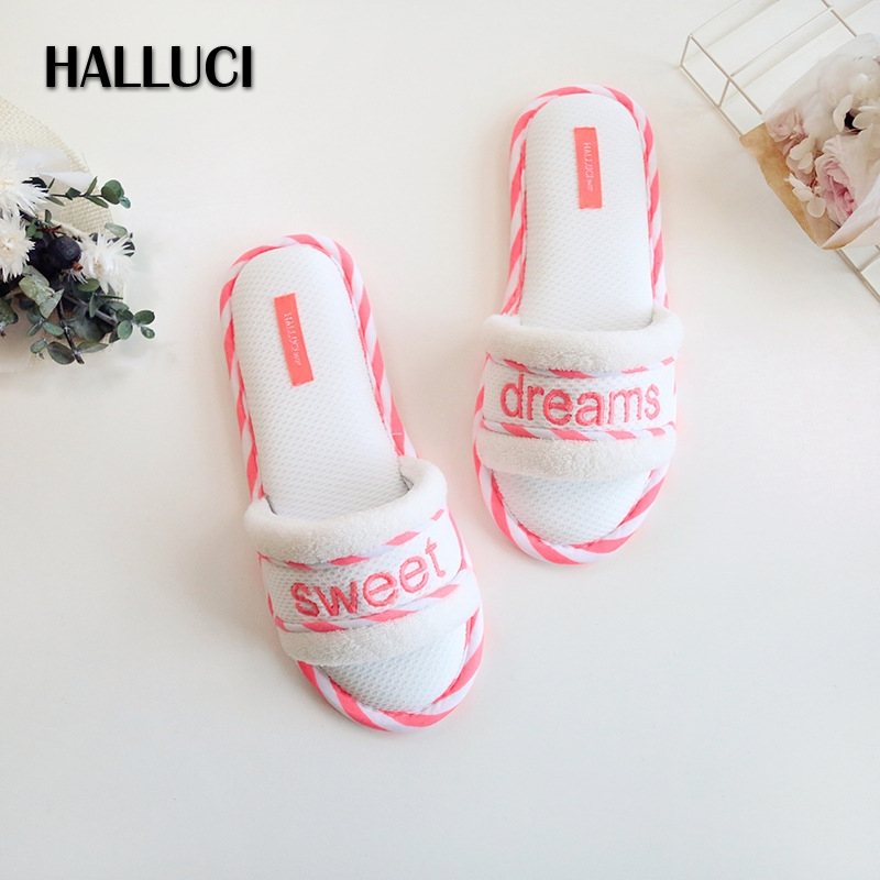 HALLUCI fresh mesh cotton candy color home slippers women peep-toe lady slides shoes sweet dreams pantufas flip flops halluci breathable sweet cotton candy color home slippers women shoes princess pink slides flip flops mules bedroom slippers