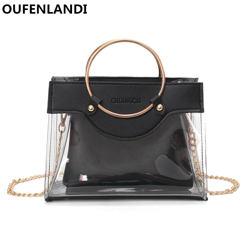women Transparent Composite bag Exquisite shoulder bag metal ring hand-held Totes High quality wome Messenger bags OUFENLANDI
