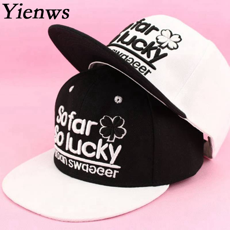Yienws Woman Baseball Cap Man Snapback Caps So Far So Lucky Kpop Summer Cap  Straight Hat 9086d59e14c