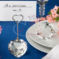 Free Shipping 12pcs/lot Crystal Heart Design Card Holder Best Choices for Wedding Table Decoration