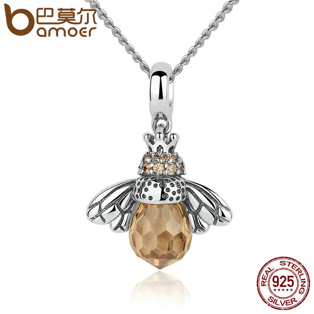 Sterling Silver Lovely Orange Bee Necklace