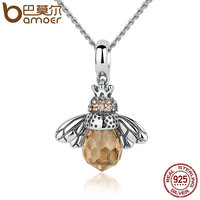 BAMOER 925 Sterling Silver Lovely Orange Bee Pendants For Women Girl Necklace Statement Jewelry SCC035