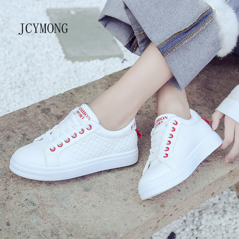 JCYMONG 2018 spring platform casual Non-slip PU leather laces shoes for female tenis feminino fashion Woman sneakers white shoes