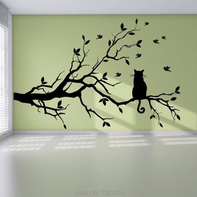 Kucing Di Cabang Pohon Burung Vinil Dinding Stiker Seni Hias Kaca Jendela Dapur