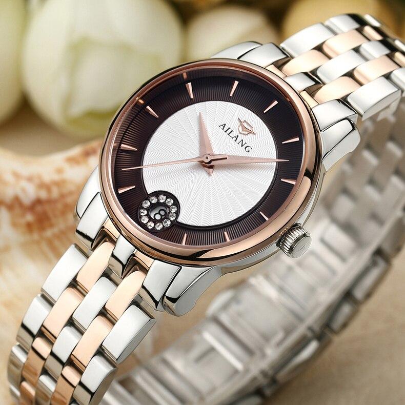 Vestido de Negócios Relógio de Pulso Simples Moda Feminina Completa Pulseira Relógios Quartzo Calendário Relógio Elegante Senhora Analógico Reloj W030 Aço