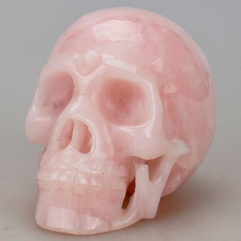 5'' Healing Stone Statue Crystal Skull Natural Rose Quartz Carved Rock Crystal Skull Statue Figurine Christmas Gift Home decor