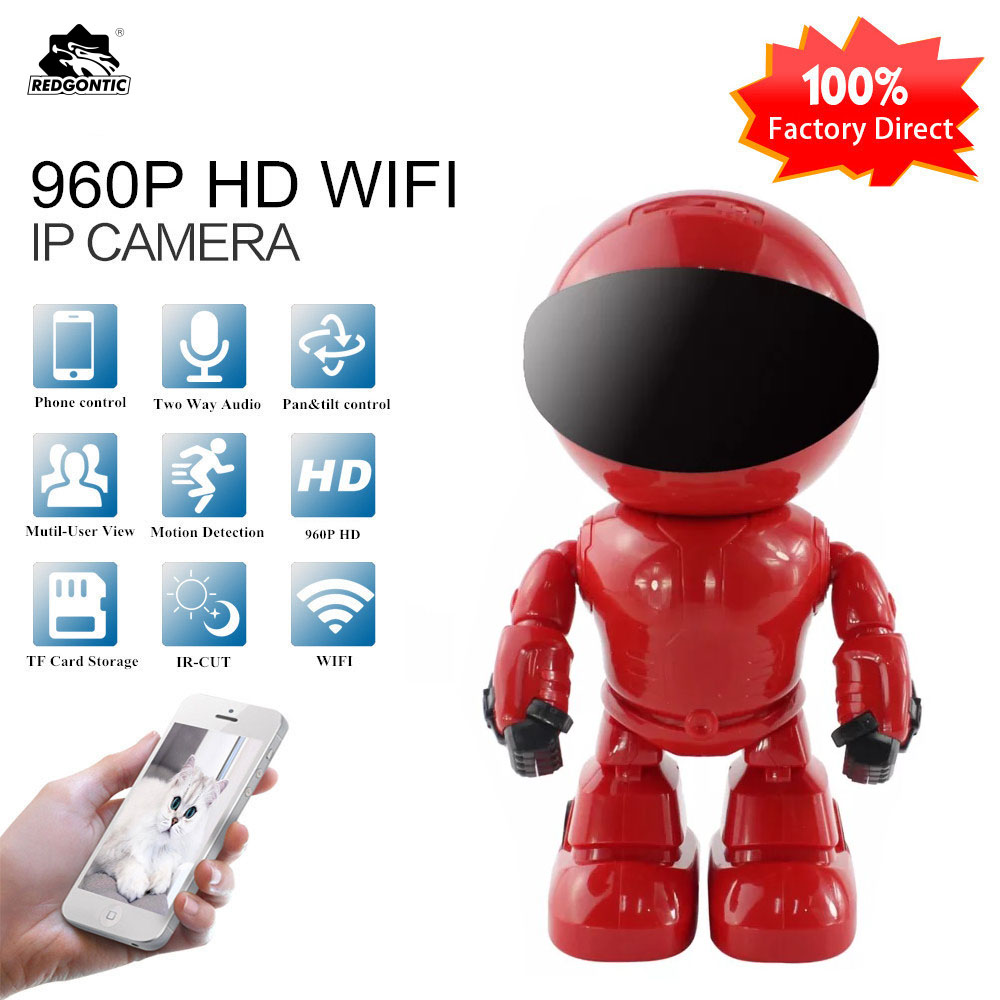 REDGONTIC 960P 1.3MP HD Wireless WI-FI IP Camera Robot P2P Night Vision Two way Audio Network Baby Monitor CAM360 robot camera wifi 960p 1 3mp hd wireless ip camera ptz two way audio p2p indoor night vision wi fi network baby monitor security