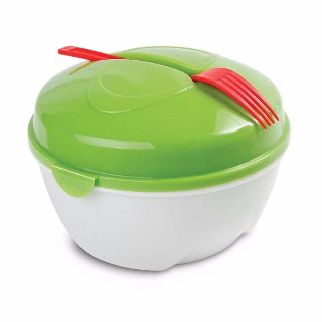 Online Shop Plastic Salad Bowl With Dressing Sauce CupFork Salad to