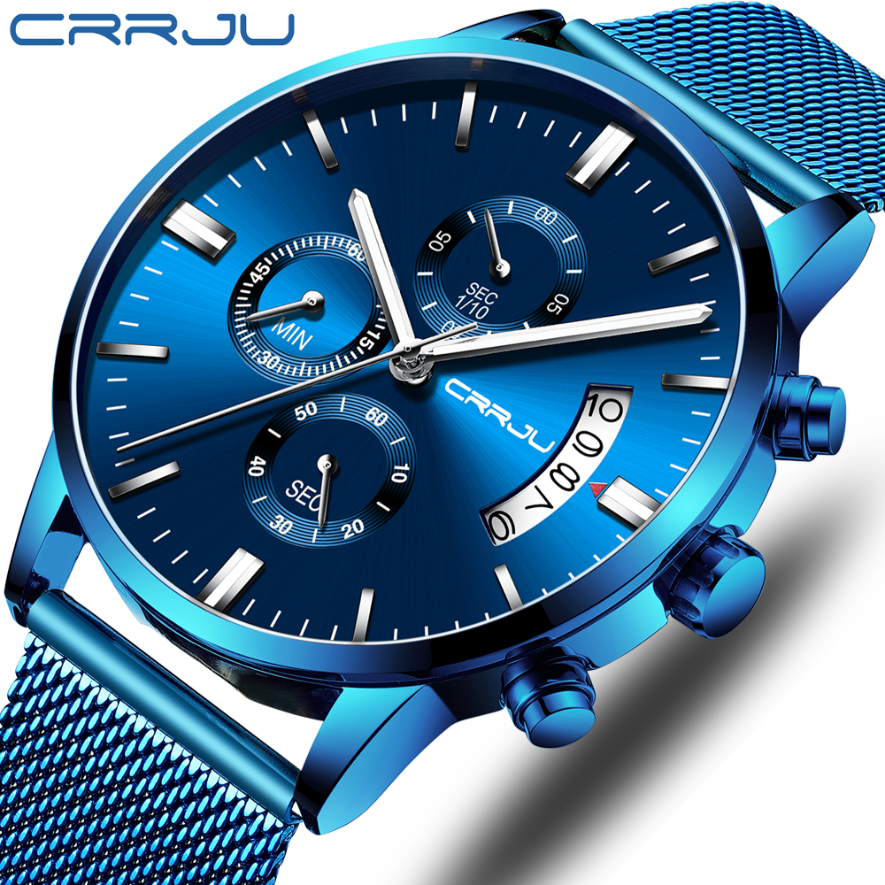 Mens Watch CRRJU Luxury Stylish Men Stainless Steel WristWatch Men's Military Waterproof Date Quartz Watches Relogio Masculino