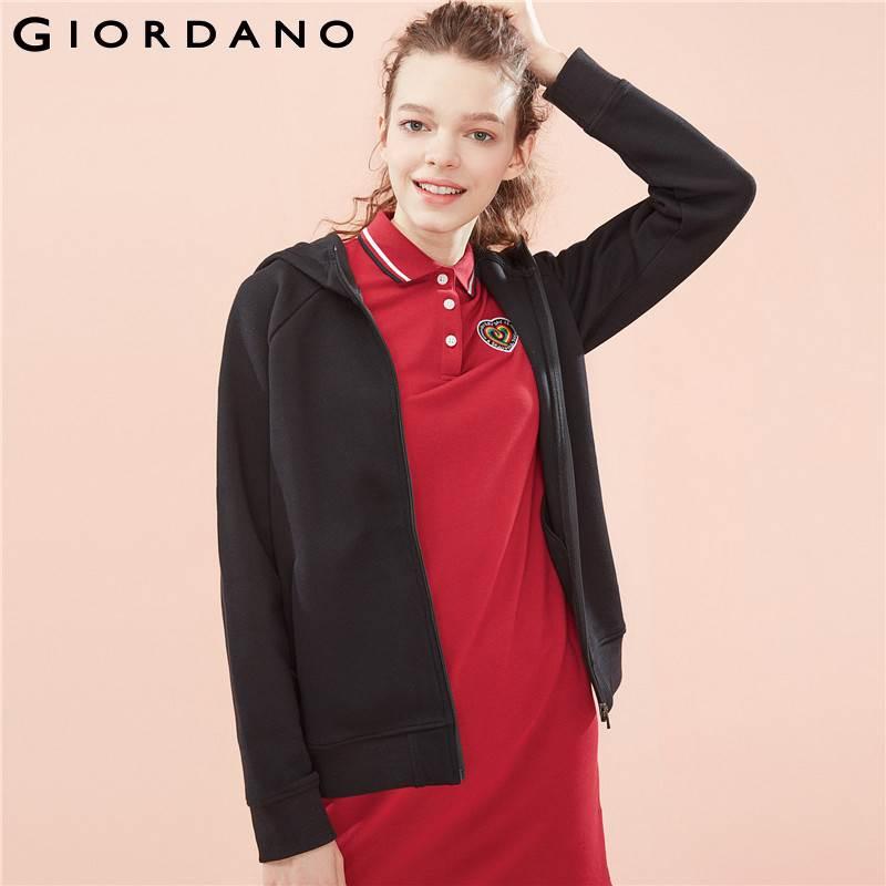 Giordano Women Jacket Women Quality Pique Fabric Hood Jacket Zip Placket Pocket Ribbed Cuffs And Hem