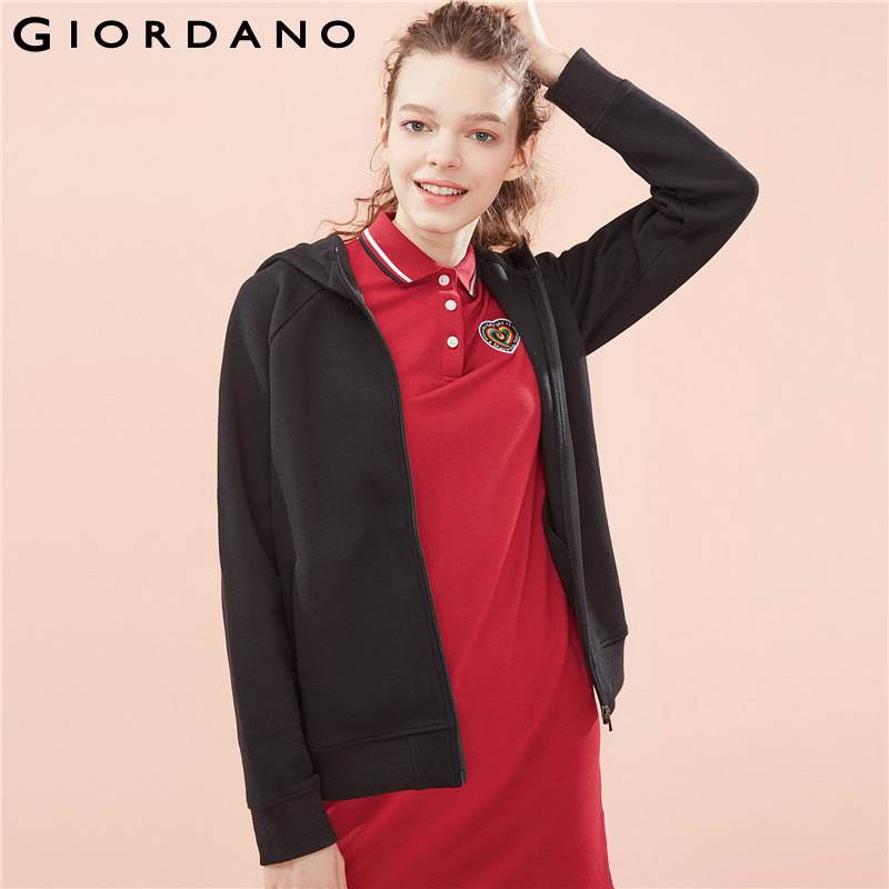 Giordano Women Jacket Women Quality Pique Fabric Hood Jacket Zip Placket Pocket Ribbed Cuffs And Hem Chaqueta Mujer-in Jackets from Women's Clothing    1