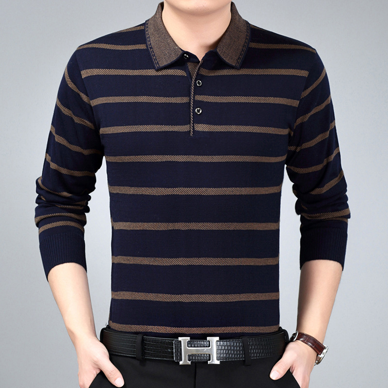 The New Spring 2019 Long Sleeve Knit Male Lapel Leisure Stripe Render Unlined Upper Garment