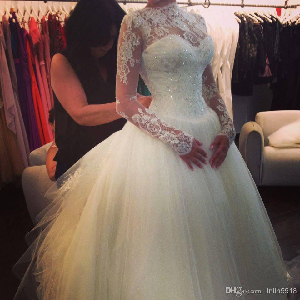 2014 high neck lace long sleeves beaded ball gown princess for High neck backless wedding dress