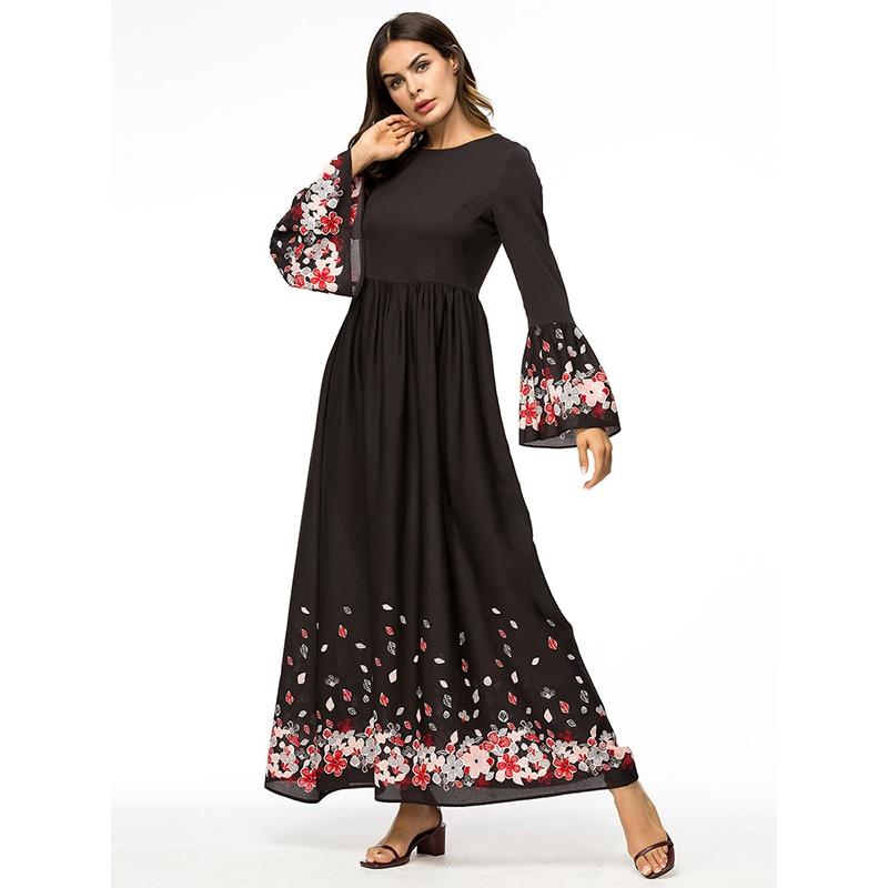 Una Di Bordo Whzhm Formato Fiore Femme Partito Veste Lungo Linea Grande  Vestito Stampato Musulmano Il ... f8b99ffb705