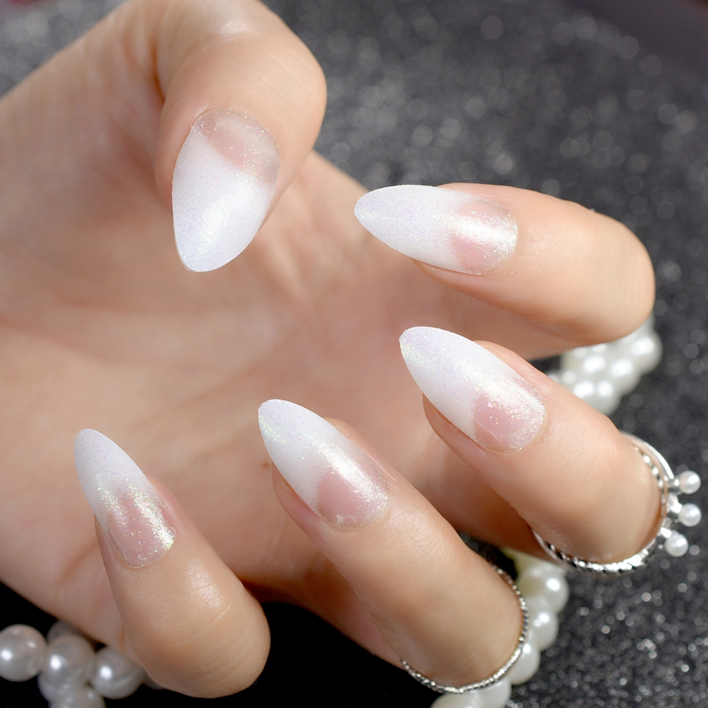24Pcs Fashion Acrylic Pointed False Nail Stiletto Nails Clear Holo Glitter French Nails Tips Full Cover Manicure Product