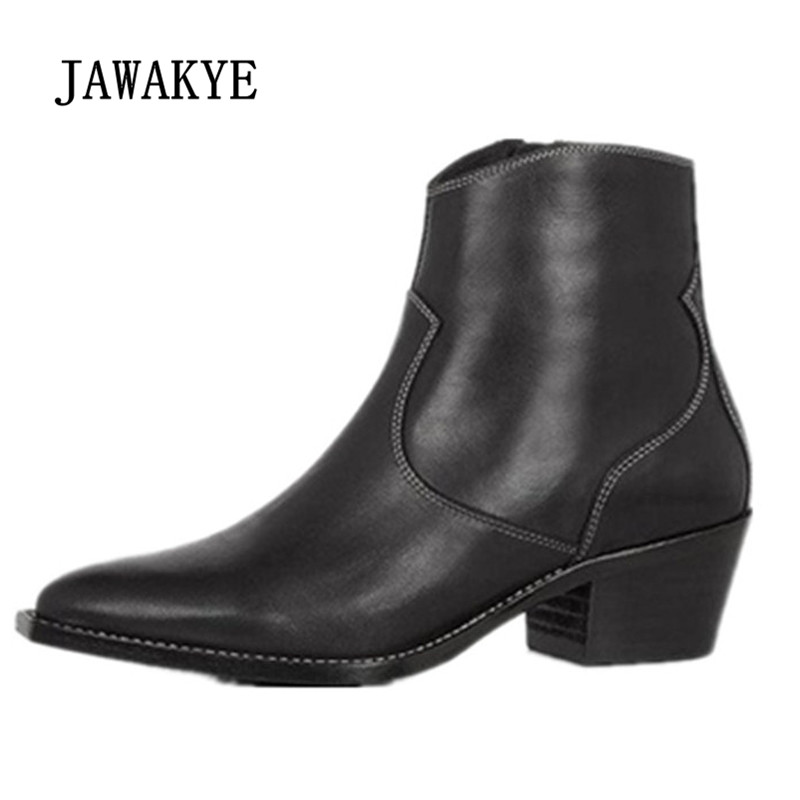 2018 Real Leather Ankle Boots Woman Pointed Toe Embroider Med Heel Boots Woman Fashion Martin Boots 2018 new tassels punk womens ankle botas retro pointed toe shoes comfort block med heel chelsea boots real leather knight boots