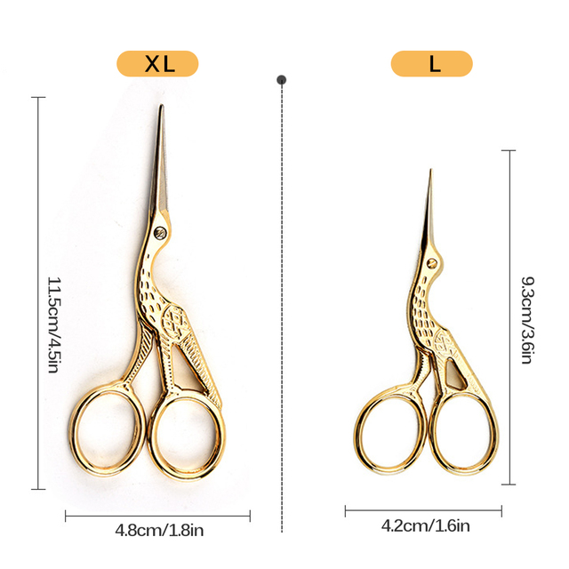 1Pc Tailor's Scissors Sewing Scissors for Needlework Gold Silver Antique Vintage Heron Shaped Stainless Steel Sewing Scissor DIY 1