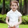 Niños Blusa de Las Muchachas Tops con Encaje 2016 Verano Niñas Blusas y Camisas de Manga Corta Blanca Camisas de Color Rosa para Niños Ropa algodón
