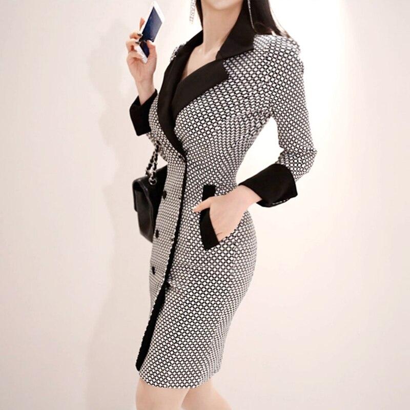 BGTEEVER élégant col en v Plaid femmes robe Double boutonnage Blazer robe femme Mini moulante Vestidos 2019 printemps de haute qualité