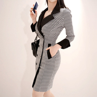 BGTEEVER Elegant V neck Plaid Women Dress Double Breasted Blazer Dress femme Mini Bodycon Vestidos 2019 Spring High Quality