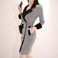 BGTEEVER Elegant V neck Plaid Women Dress Double Breasted Blazer Dress femme Mini Bodycon Vestidos 2019 Spring High Quality