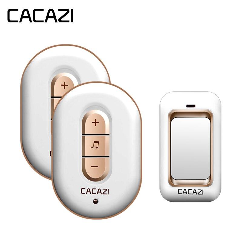 CACAZI Auto-alimenté Sans Fil Sonnette Pas de Batterie Étanche Bouton 200 m À Distance Led Accueil Sans Fil Cloche 48 Carillons 6 Volume