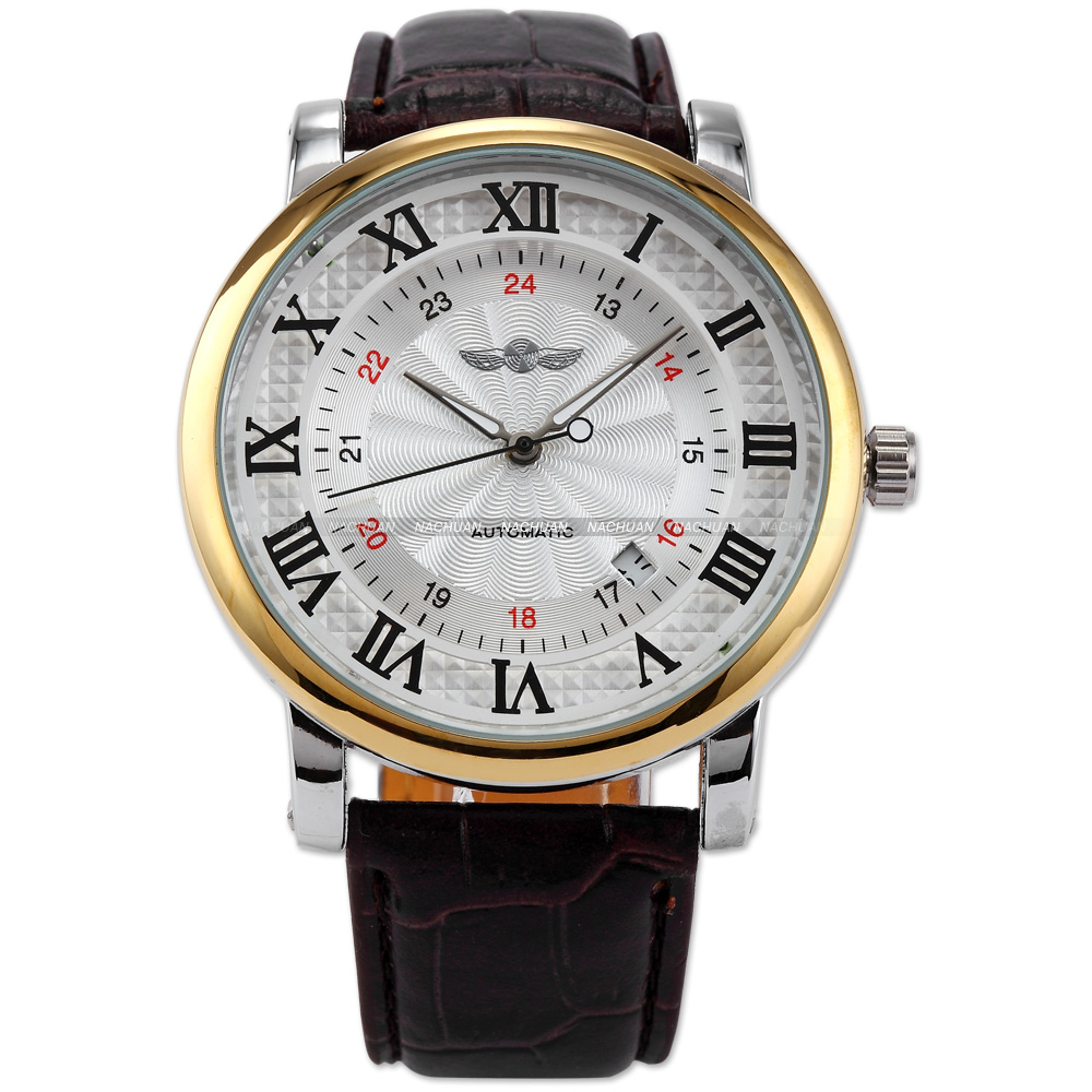 New WINNER Classic White Dial Gold Case Rome Number Auto Automatic Mechanical Date Brown Leather Wrist Men's Dress Watch/ PMW100