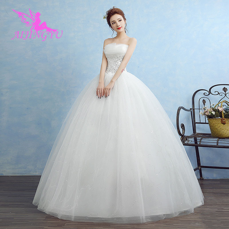 AIJINGYU 2018 Bridal Free Shipping New Hot Selling Cheap Ball Gown Lace Up Back Formal Bride Dresses Wedding Dress WK332