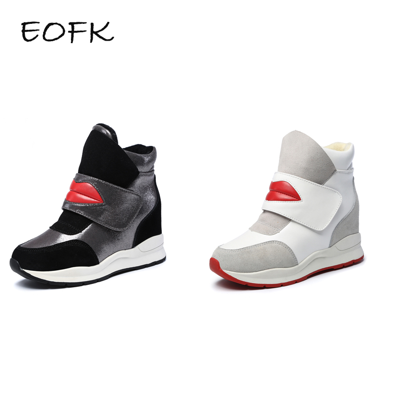 EOFK Women High Top Suede Leather Ankle Soft Plush Boots White Hook Loop Height Increasing Shoes Woman Winter Shoes With Fur