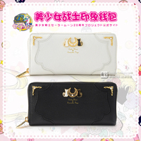 2017 new Anime 20th anniversary Sailor Moon cos cartoo LUNA white black color PU fashion sweet girl woman Lolita long Wallet