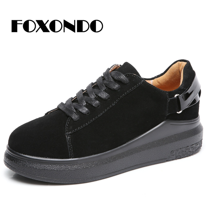 FOXONDO 2019 Autumn women oxford shoes flats shoes women   leather     suede   lace up casual boat shoes round toe flats moccasinskt5688