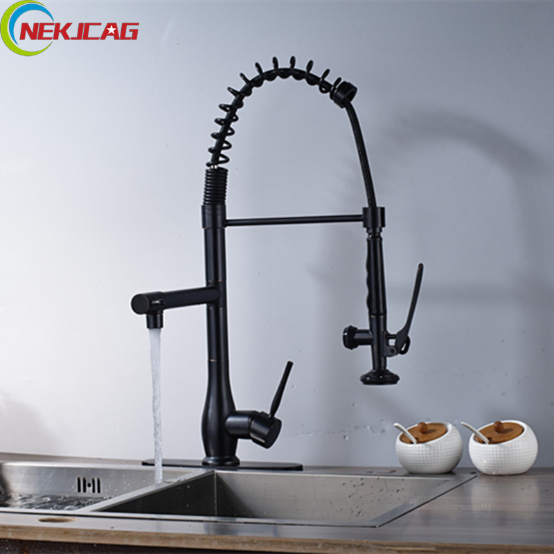 Us 89 32 42 Off Oil Rubbed Bronze Spring Kitchen Sink Faucet Single Handle Pull Down Kitchen Faucet Deck Mounted Rotation Water Taps With Plate In