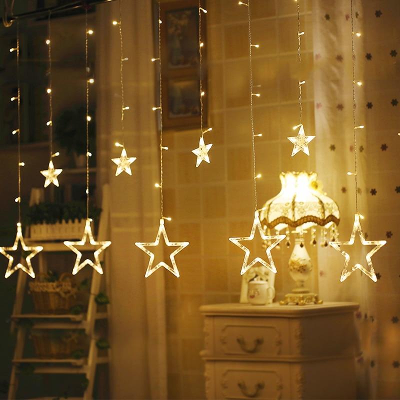 Lâmpada CONDUZIDA 6 grande 6 pequena Estrela de Cinco pontas-Luzes Da Cortina 2.5M138led Glitter Dia de Natal Aniversário de Casamento Da Lâmpada Interior lâmpada