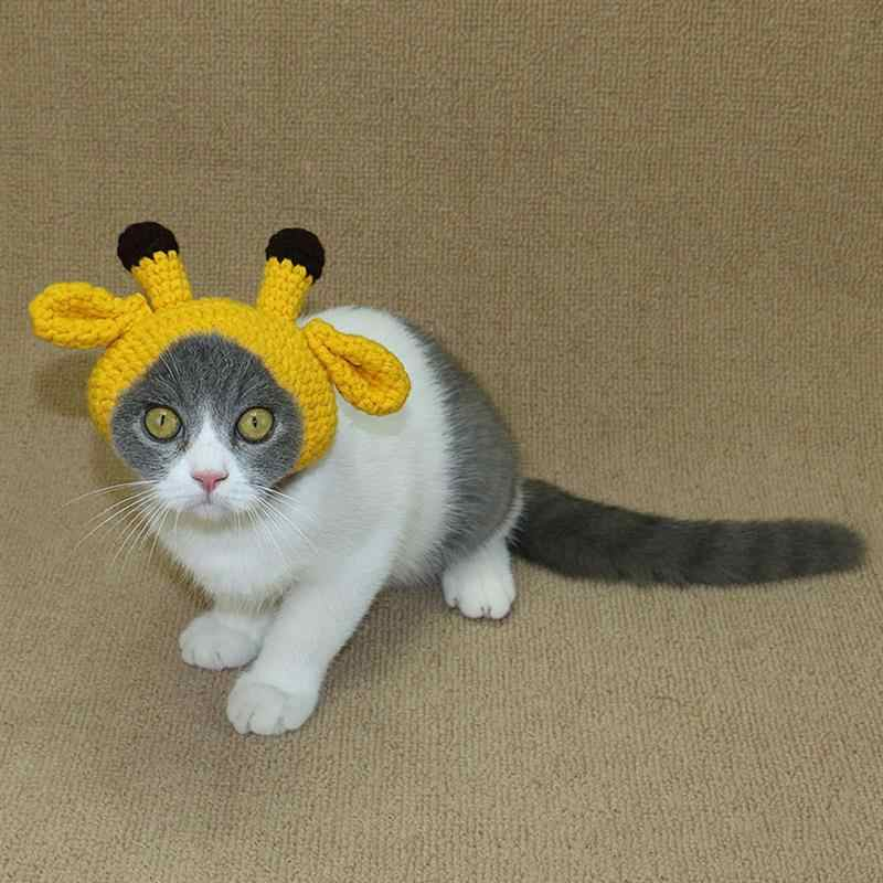 f75899d6 ... Halloween Knitting Dog-accessories Hat Handmade Small Antler imitation  Puppy Pet Cat Winter Grooming Caps ...