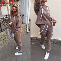 2019 New Autumn Tracksuit Long Sleeve Thicken Hooded Sweatshirts 2 Piece Set Casual Sport Suit Women Hoodies Pants Set CC1482