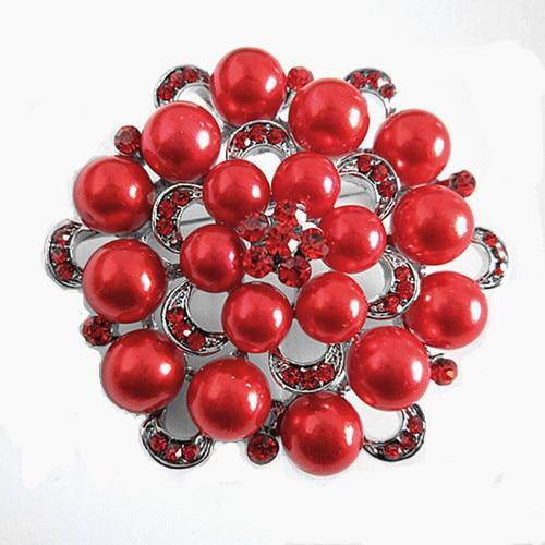 Серебряный тон искусственный жемчуг и горный хрусталь с бриллиантами, кристалами для свадьбы брошь с букетом - Окраска металла: Silver Red