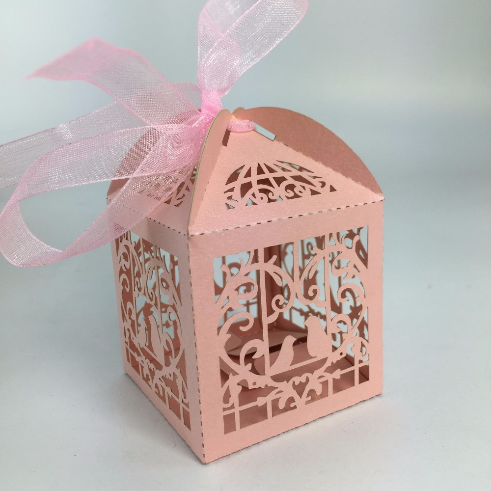 2018 Love Couple Bird Laser Cut Candy Boxes Casamento Wedding Favors ...