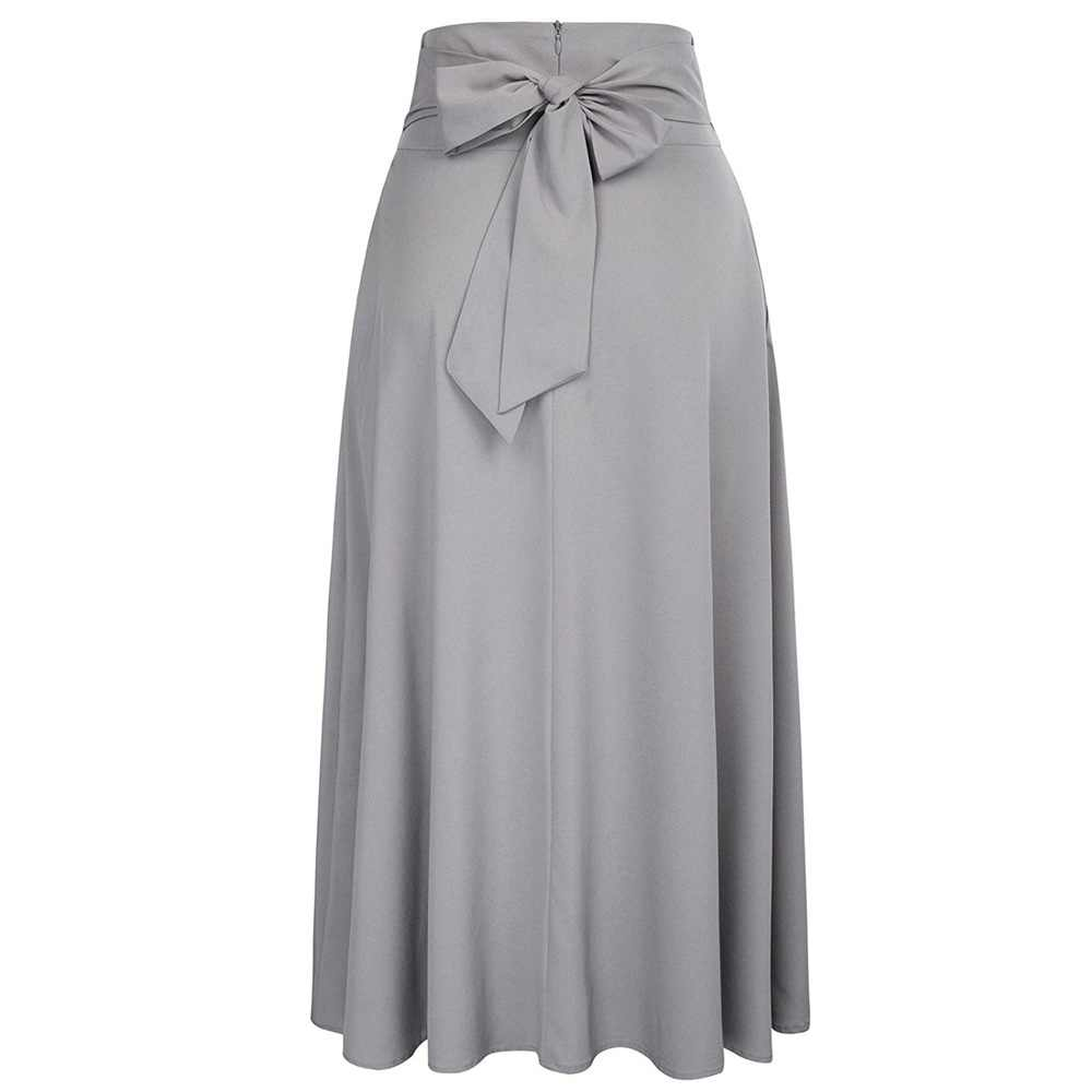 128b50a0b46 ... Skirts Womens High Waist Pleated A Line Long Skirt Front Slit Belted  S-XXL Maxi ...