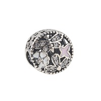 Fit Pandora Bracelet 925 Sterling Silver SPRINGTIME CHARM Flower Butterfly Crystal Beads