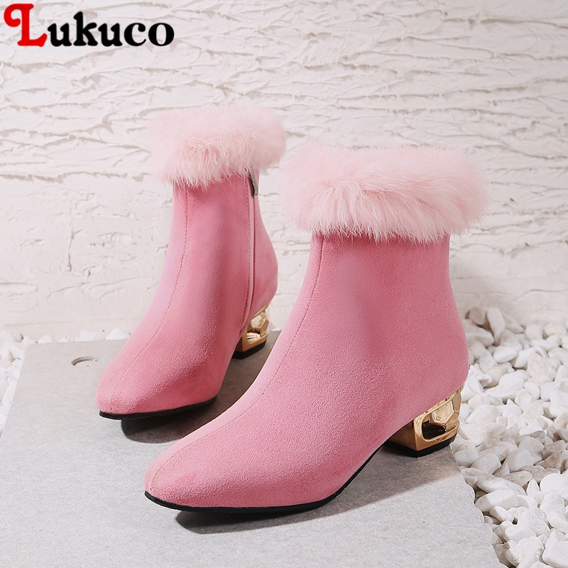 Wholesale Safety Winter Warm Fur Ankle Boots Pointed Toe Pumps Big Size 43 44 45 46 47 48 High Quality Free Shipping Shoes Woman plus size 43 44 45 46 47 48 new high quality pu pointed toe elegant women shoes sequined design spike heel pumps free shipping