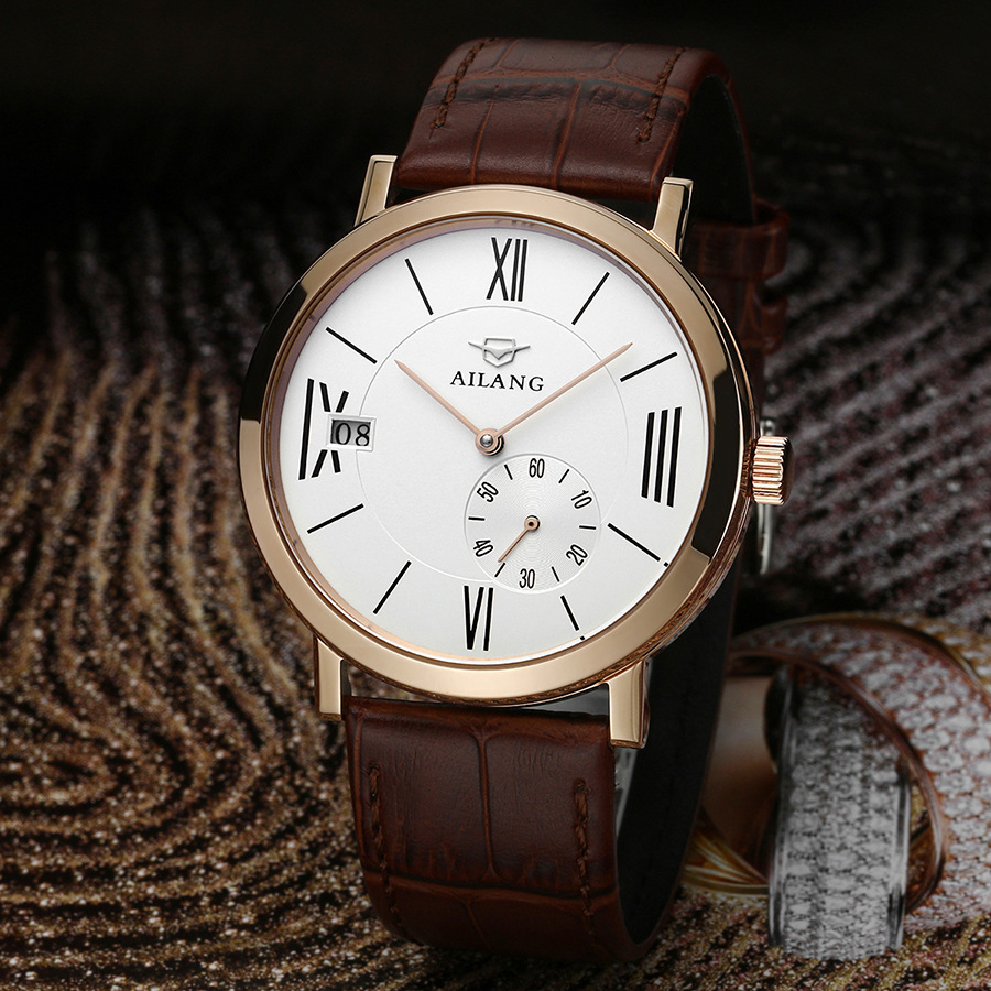 AILANG Fashion Vintage Roman Scale Men Mechanical Dress Watch Auto Real Leather Business Wristwatch 3-hand Calendar Reloj NW3308AILANG Fashion Vintage Roman Scale Men Mechanical Dress Watch Auto Real Leather Business Wristwatch 3-hand Calendar Reloj NW3308