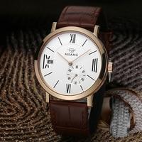 AILANG Vintage Da Moda Escala Roman Homens Vestido Relógio Mecânico Automático Negócio Relógio de Pulso de Couro Real 3-mão Calendário Reloj NW3308