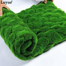 Luyue 1M*1M Square Artificial Plant Lawn Home Simulation Plant Background Wall Moss Turf Green Sod Interior Window Decoration