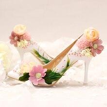 Ästhetische Blume paillette Brautschuhe spitz High Heels extrem dünne formale kleid Hochzeit Schuhe Frauen Pumpt partei Schuhe roten